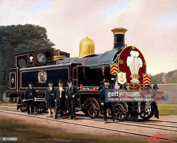 Painted photograph by F Moore showing railway workers standing beside the locomotive that was used for a tour by the Prince of Wales who later became...