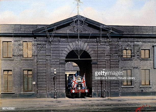 Painted photograph by F Moore showing the front of the Works decorated for an illuminated display to commemorate Queen Victoria's Diamond Jubilee of...