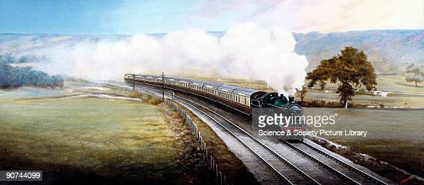 Painted photograph by F Moore showing the Great Western Railway's Cornish Riviera Express locomotive which entered service in 1904 on what was at the...