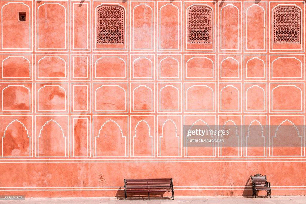 Painted Pink Wall Of Jaipur City Palace Rajasthan India Stock Photo