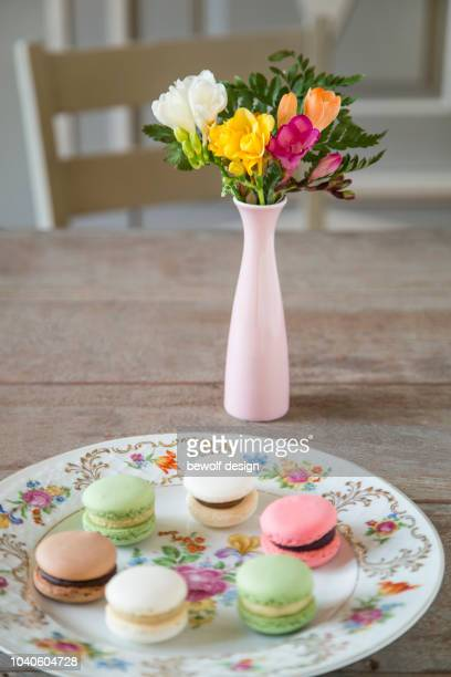 Painted plate with flower pattern