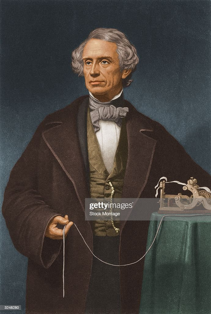 Painted portrait of American artist and inventor Samuel Morse (1791 - 1872), who invented the Morse code system used in sending messages by telegraph, circa 1850. He poses beside a telegraph device.