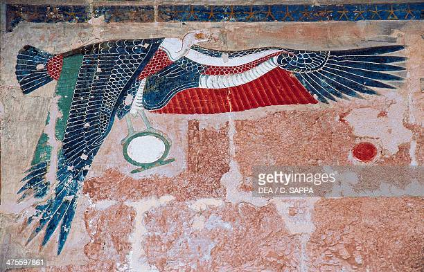Painted relief depicting the vulture of Upper Egypt, Mortuary Temple of Hatshepsut, Deir el-Bahari, Luxor, Thebes , Egypt. Egyptian civilisation, New...