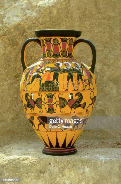 Painted Replica of Greek Amphora in Black-Figure Style by Kostas Pappas