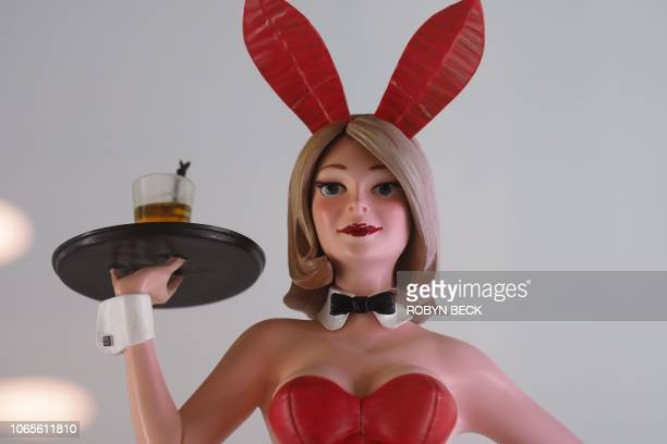 A painted resin statuette of a Playboy Bunny from the collection of late Playboy publisher Hugh Hefner is displayed as part of Julien's Auctions...