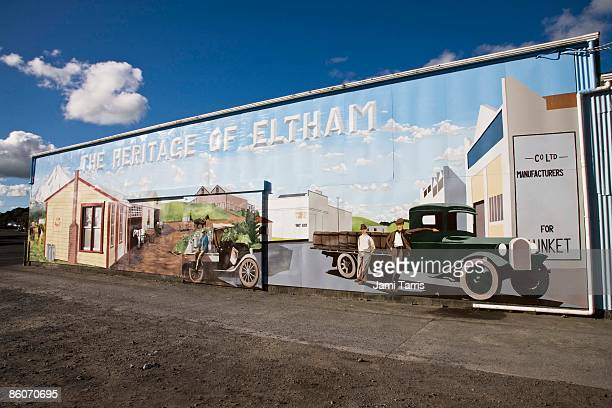 Painted scene on building, Egmont, North Island, New Zealand