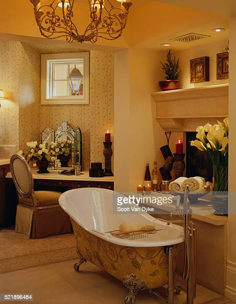 Painted Slipper Tub in Front of Fireplace