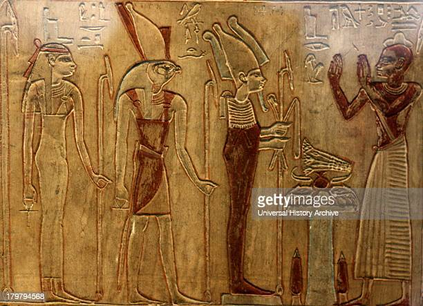 Painted stele of the priest PuInpu priest of Horus 26th Dynasty Egyptian from Abydos Made of limestone with traces of polychrome colouring Showing...