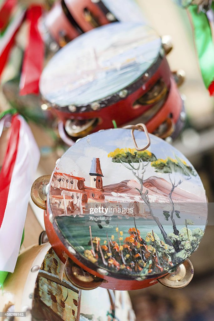 Painted tambourine for sale in Naples, Italy : Stock Photo