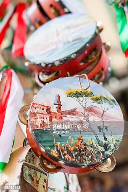 Painted tambourine for sale in Naples, Italy