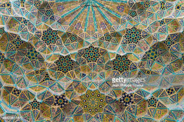 Painted tiles mosaic on the ceiling of a mosque entrance vault in Shiraz, Fars Province, Iran