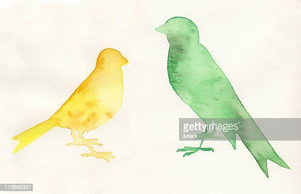 手描きの水彩鳥