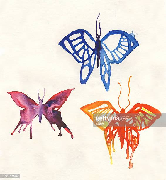 Painted watercolor butterflies