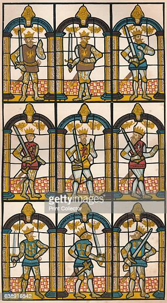Painted Window Two Saxon Earls of Mercia and Seven Norman Earls of Chester' 1808 The drawing is a reproduction of a sixteenthcentury painted glass...