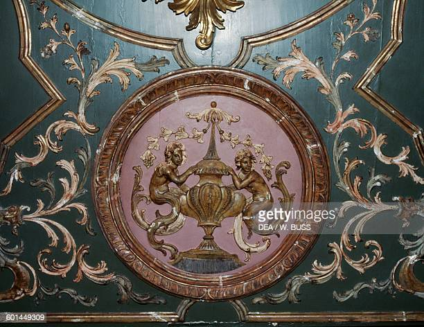 Painted wooden ceiling in a room of Ksiaz castle Lower Silesian voivodship Poland 13th18th century