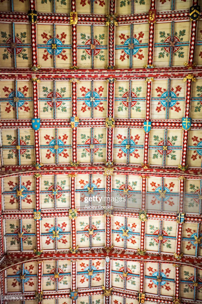 A painted wooden ceiling in St Davids Cathedral in St Davids, Pembrokeshire, Wales, UK. : Stock Photo
