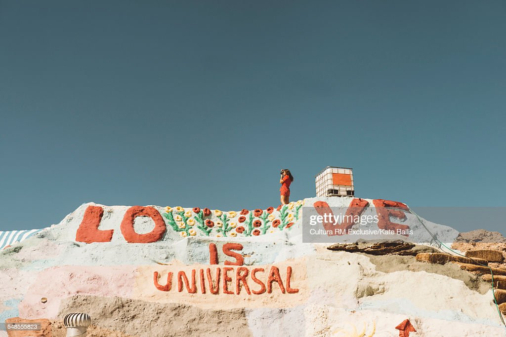 Painted words on Salvation Mountain, Salton Sea, California, USA : Stock Photo