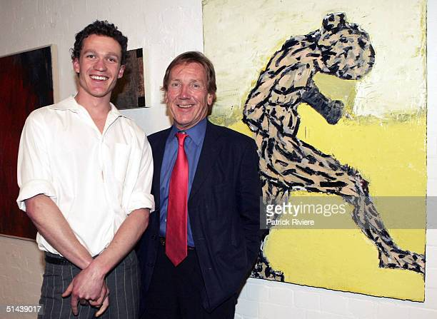 Painter Alan Jones is congratulated by Edmund Capon Director of the Art Gallery of New South Wales for winning the AUD $25000 Brett Whiteley...