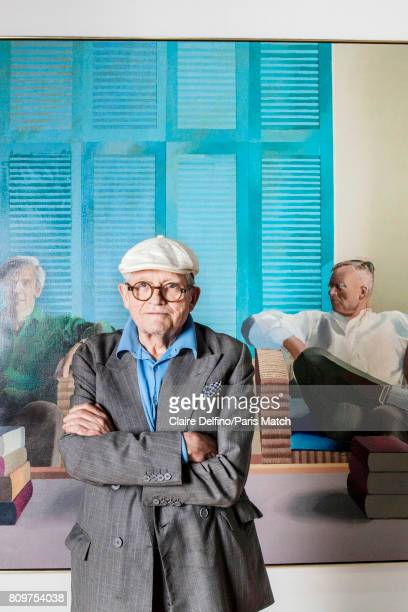 Painter and artist David Hockney is photographed for Paris Match on June 12 2017 in Paris France