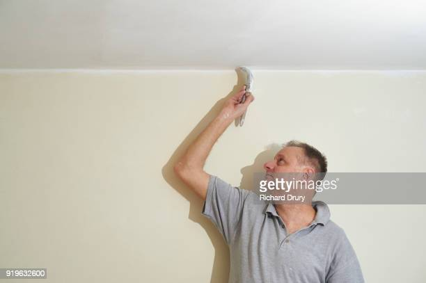 Painter and decorator painting ceiling