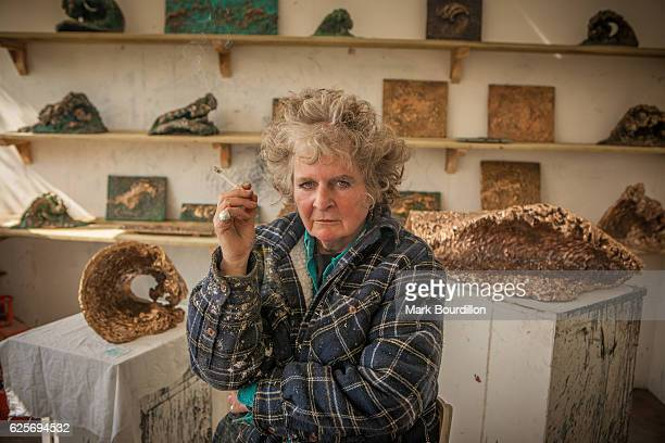 Painter and sculptor Maggi Hambling is photographed for the Sunday Times on April 12 2010 in Saxmundham England