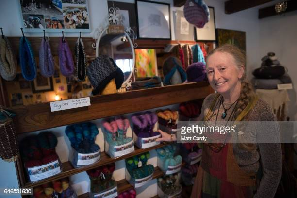 Painter and wool maker Susan Seddon from Scilly Socks poses for a photograph at her shop at Porthloo Studios on St Mary's on the Isles of Scilly on...
