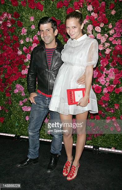 Painter Andre Saraiva and Annabelle DexterJones attends the 7th Annual Chanel Tribeca Film Festival Artists Dinner at The Odeon on April 24 2012 in...