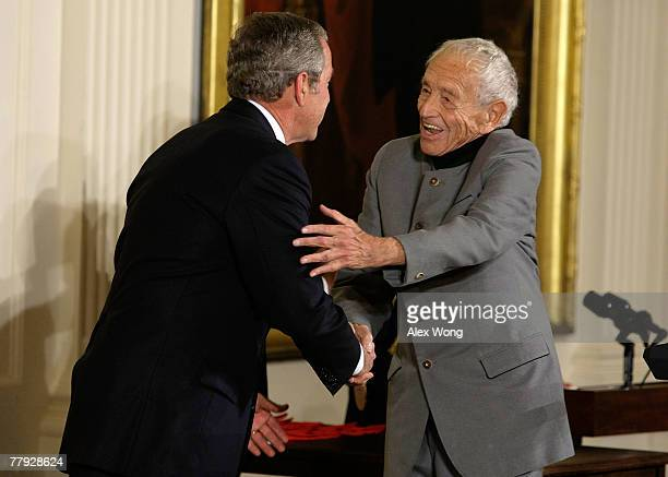 Painter Andrew Wyeth greets US President George W Bush during the presentation ceremony of 2007 National Medals of Arts and National Humanities...