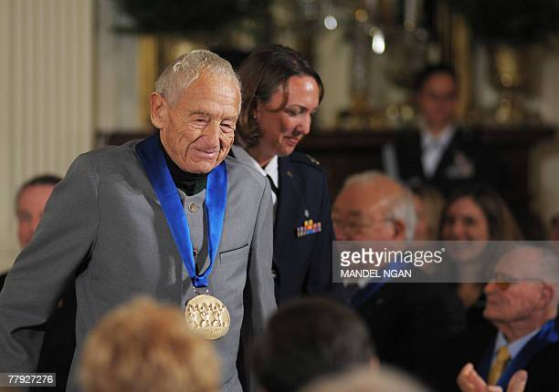 US painter Andrew Wyeth takes his seat after US President George W Bush presented him with the 2007 National Medal of Arts on 15 November 2007 in the...