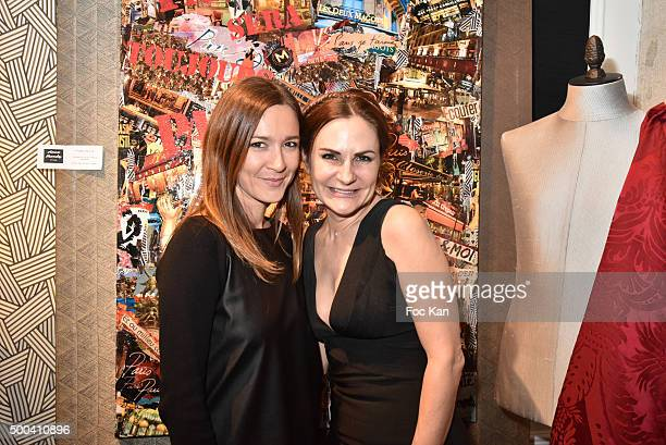 Painter Anne Mondy and Emmanuelle Boidron attend the 'Accords Croises' Anne Mondy Exhibition Preview at Galerie Dedar on December 7 2015 in Paris...