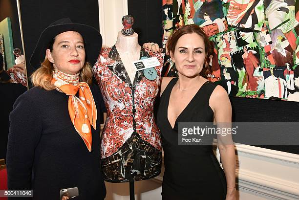 Painter Anne Mondy and PR Esther Meyniel attend the 'Accords Croises' Anne Mondy Exhibition Preview at Galerie Dedar on December 7 2015 in Paris...