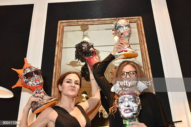 Painter Anne Mondy and TV presentater Cyrielle Joelle from Le Juste Prix attend the 'Accords Croises' Anne Mondy Exhibition Preview at Galerie Dedar...