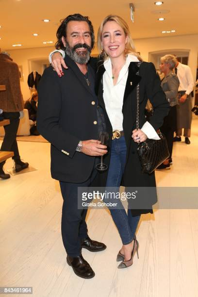 Painter artist Mauro Bergonzoli and his partner Princess Franziska Fugger von Babenhausen during the Brunello Cucinelli Cocktail on September 6 2017...