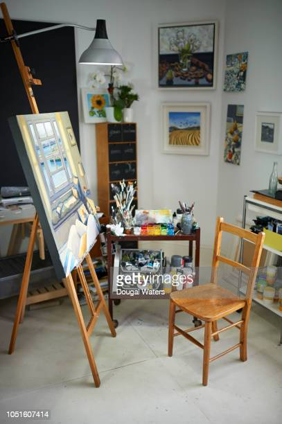 Painter artist studio workspace.