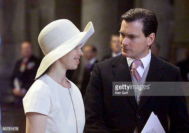 Painter Daniel Chatto and wife Lady Sarah ArmstrongJones at National Service of Thanksgiving for the 100th Birthday of The Queen Mother at St Paul's...