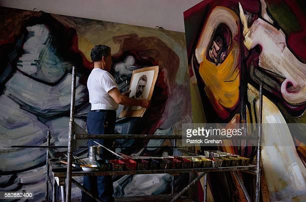 Painter David Alfaro Siqueiros at Work in His Studio