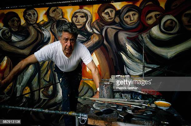Painter David Alfaro Siqueiros with Detail of Peasants from La Revolucion