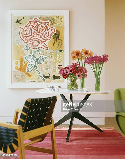 Painter David Salle is photographed at home for the May 2005 Elle Decor in Brooklyn New York Pictured In the living room of David Salles New York...