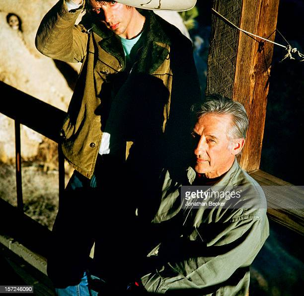 Painter Ed Ruscha IV and son Ed 'Eddie' Ruscha V are photographed for Vanity Fair Magazine on February 12, 1999 at their hideout in the Yucca Valley...
