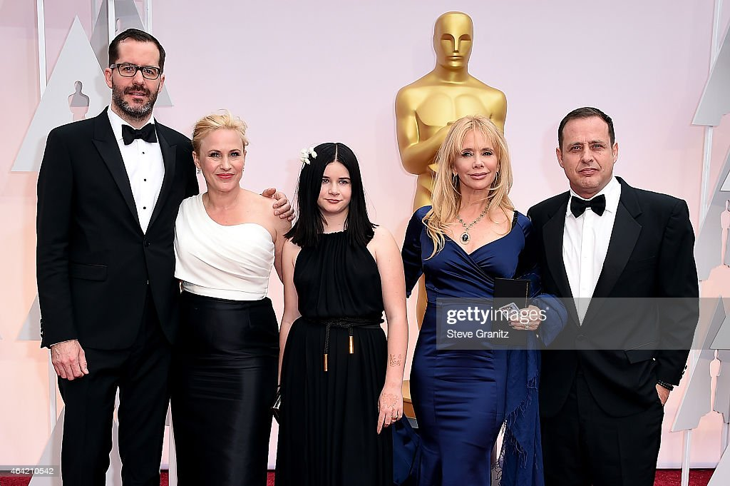 Painter Eric White, actress Patricia Arquette, Harlow Olivia Calliope, actress Rosanna Arquette and guest attend the 87th Annual Academy Awards at Hollywood & Highland Center on February 22, 2015 in Hollywood, California.