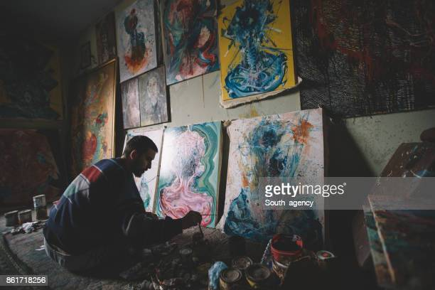 Painter in studio