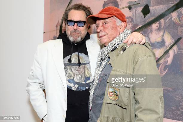 Painter Julian Schnabel and photographer David Bailey attend Pace Gallery Celebrates Julian Schnabel at 6 Burlington Gardens on May 16, 2018 in...