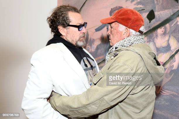 Painter Julian Schnabel and photographer David Bailey attend Pace Gallery Celebrates Julian Schnabel at 6 Burlington Gardens on May 16 2018 in London...