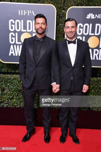 Painter Jwan Yosef and singer Ricky Martin attend The 75th Annual Golden Globe Awards at The Beverly Hilton Hotel on January 7 2018 in Beverly Hills...