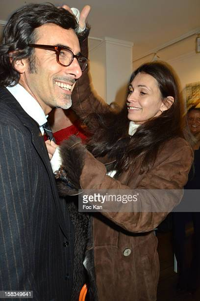 Painter Laurent Hubert and Adeline Blondieau attend the 'Amerique Instantanes' Laurent Hubert Painting Exhibition Preview at Galerie Myriane on...
