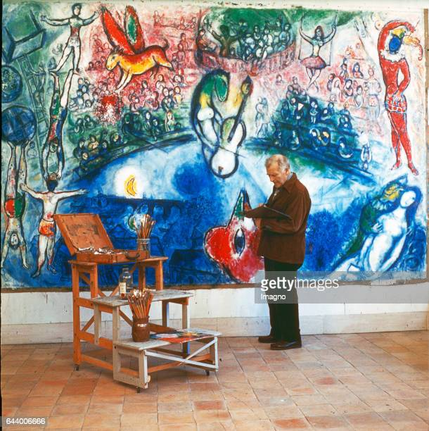 Painter Marc Chagall and his painting >Commedia dell`Arte< Photograph 1959