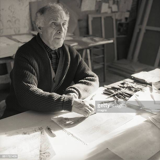 Painter Marc Chagall in his studio. St.Paul-de-Vence. 1957. France. Photograph by Franz Hubmann