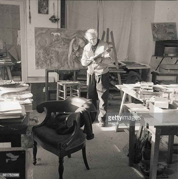 Painter Marc Chagall in his studio StPauldeVence 1957 France Photograph by Franz Hubmann
