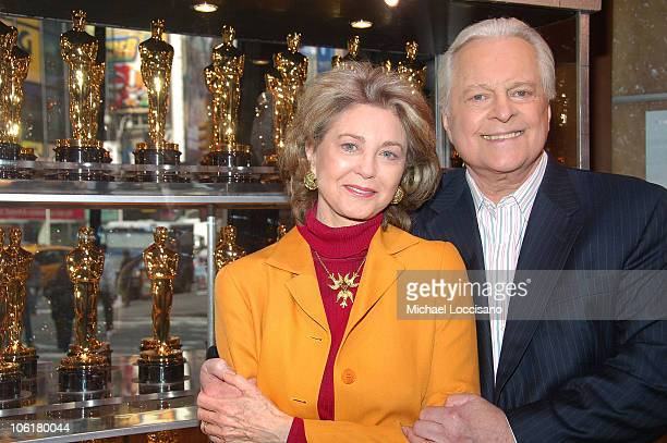 Painter Maria Cooper Janis and official biographer of The Academy Awards Robert Osborne attend the 2008 'Meet The Oscars' press preview display in...