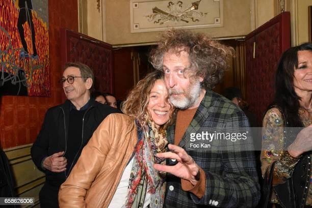Painter Nathalie Pasqua and Technikart magazine publisher Fabrice de Rohan Chabot attend Jean Pierre Kalfon ad P.I.B. Band Concert at Theatre Dejazet...